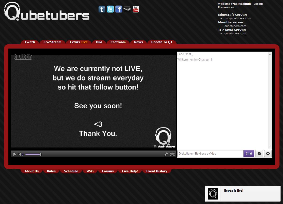Qubetbubers Streaming Notifications zeigt eine Benachrichtigung an