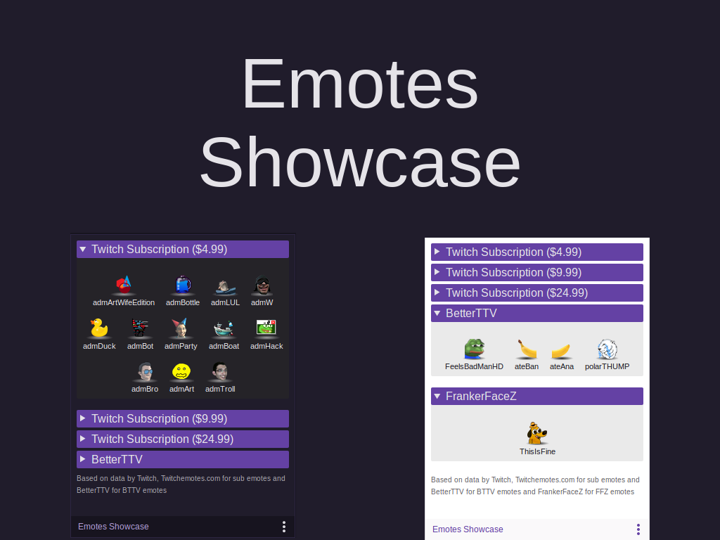 Showcase all your Twitch emotes - Humanoids beLog